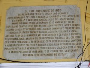 Placa colocada en el centenario de la Emancipación Política.